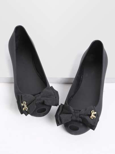 Black Bow Embellished Peep Toe Ballet Flats