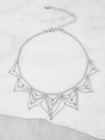Metallic Chandelier Chain Necklace SILVER
