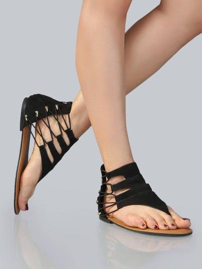 Faux Suede Thong Sandals BLACK