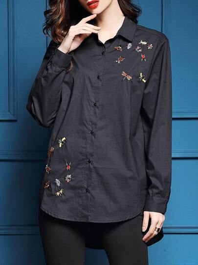 Black Lapel Animals Embroidered High Low Blouse