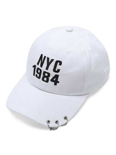 White Letter Embroidery Ring Detail Baseball Cap