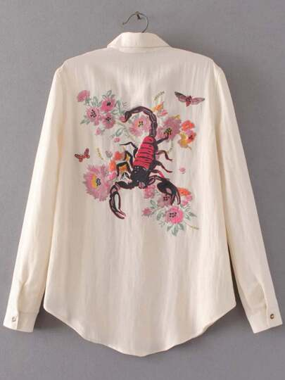 Scorpion Embroidered Back Curved Hem Shirt