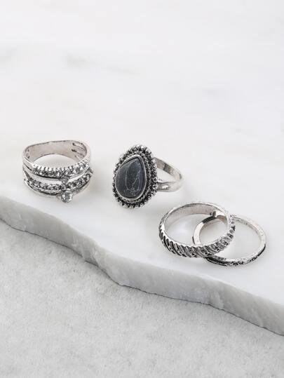 Teardrop Multi Ring Set BLACK