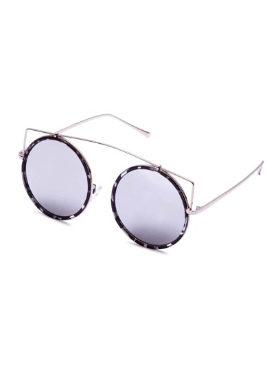 Silver Frame And Lens Round Sunglasses
