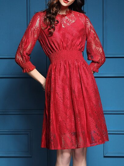 Red Elastic-Waist Mesh Lace Dress