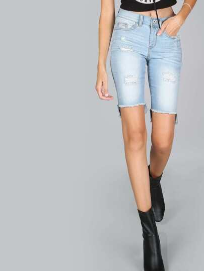 Distressed Bermuda Shorts LIGHT DENIM