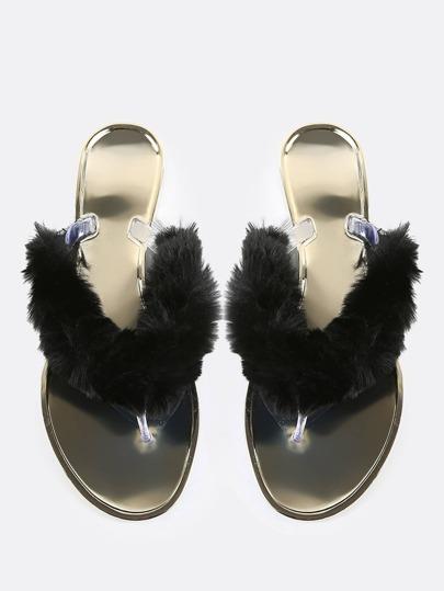 Fur Thong Sandals BLACK