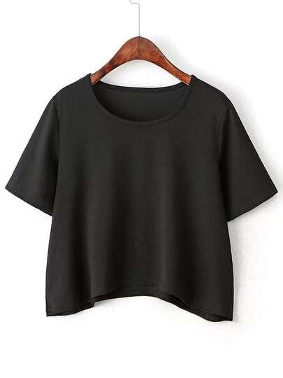 Schwarzes kurzes Hülsen-gebogenes Saum-T-Shirt