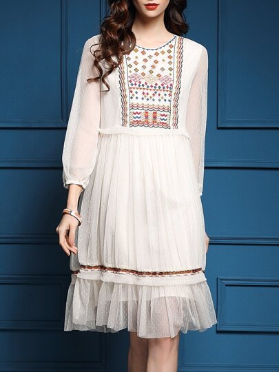Beige Sheer Tribal Embroidered Pleated Dress
