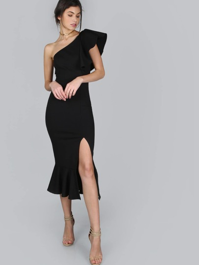 One Shoulder Frill Peplum Hem Dress BLACK