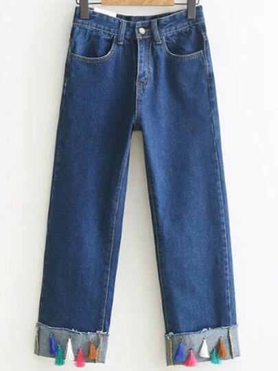 Blue Rolled Hem Fringe Embellished Denim Pants