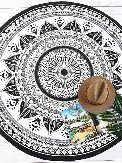 Tribal Print Vintage Round Beach Blanket