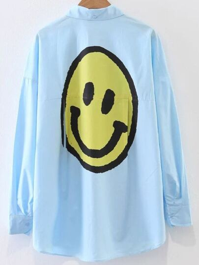Blu Smile Face Stampa Camicetta con Pocket