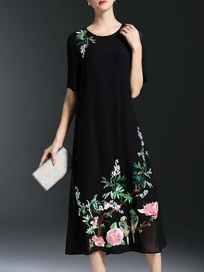 Black Crew Neck Flowers Embroidered Dress