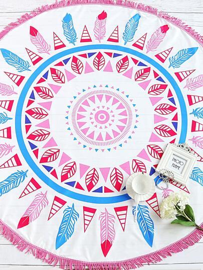 Feather Print Fringe Trim Round Beach Blanket