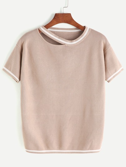 Pale Khaki Cut Out Neck Striped Trim Knit T-shirt