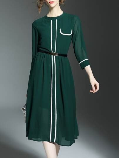 Green Contrast White Belted A-Line Dress