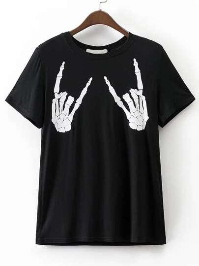 Camiseta estilo novio con estampado de cráneo - negro