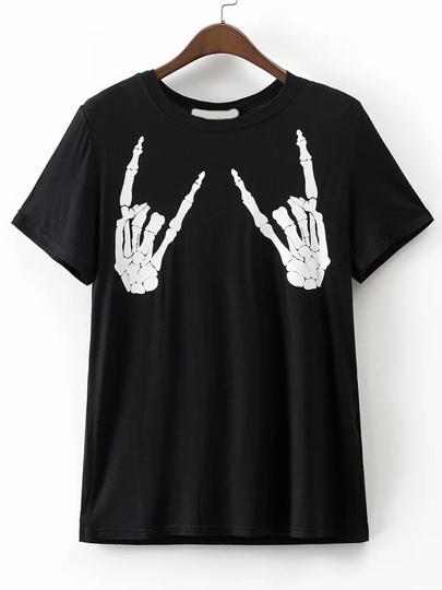 Nero Skull Stampa Boyfriend T-shirt