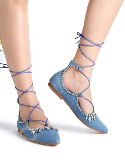 Blu strass Dettaglio Lace Up Denim Ballerine