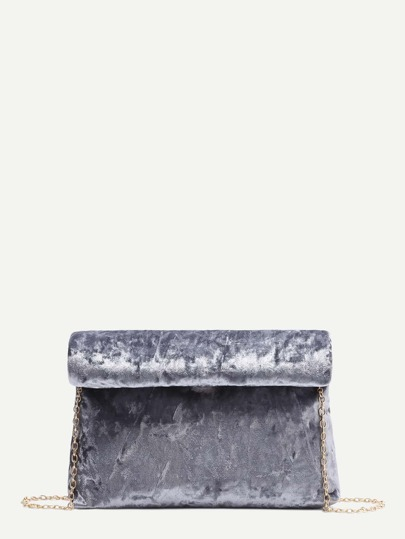 Grey Foldover Velvet Clutch Bag With Chain