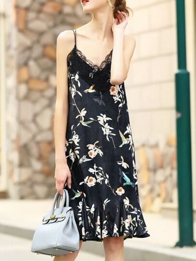 Black Yellow Spaghetti Strap Flowers Print Dress