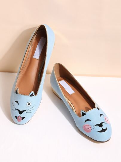 blue cat broderies des ballerines