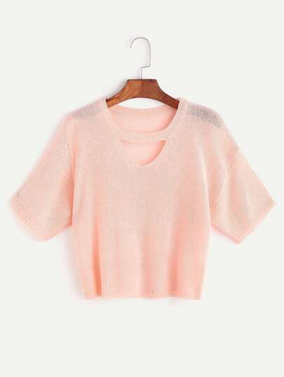 Pink Knit Cut Out Neck Crop T-shirt