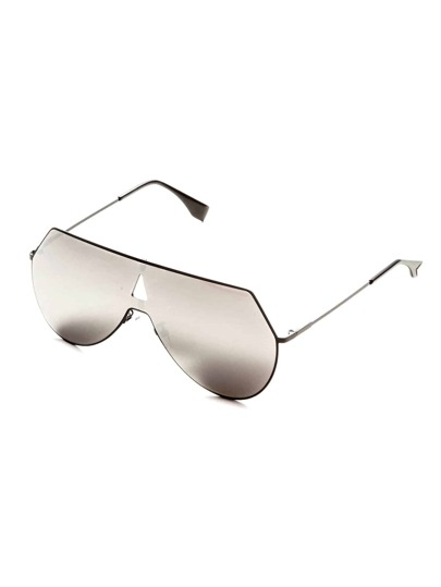 Silver Lens Triangle Cutout Detail Sunglasses