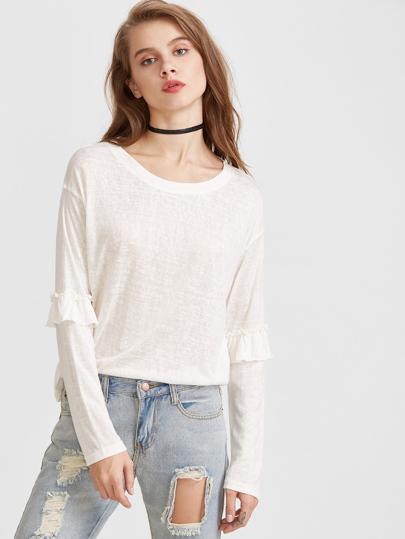 Beige Drop Shoulder Ruffle Trim T-shirt