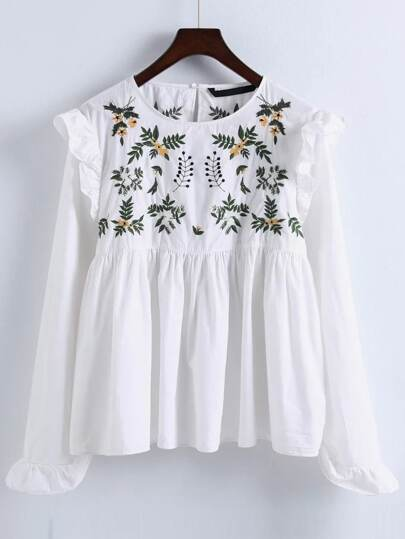 Embroidery Ruffle Trim Pleated Blouse
