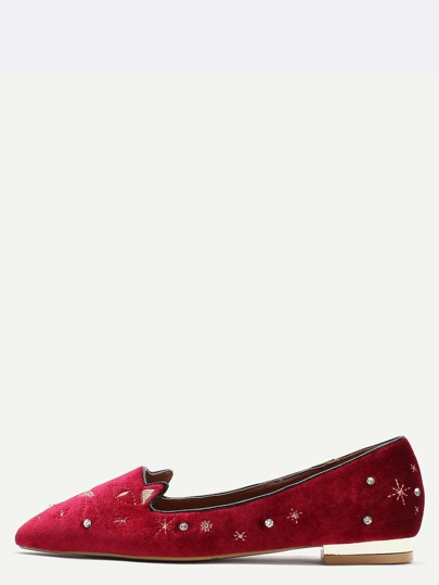 Burgundy Animal Embroidered Point Toe Flats