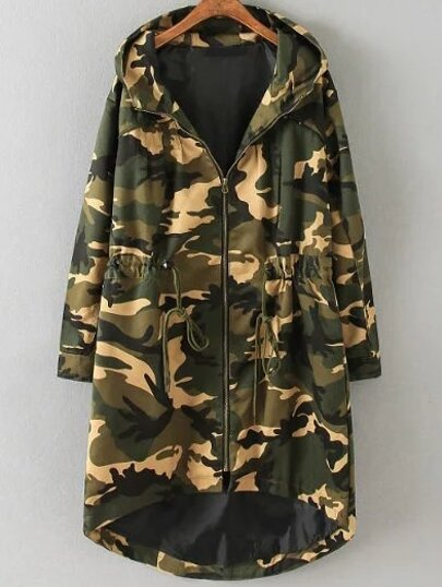Army Green Camouflage Stampa coulisse Particolare High Low Coat