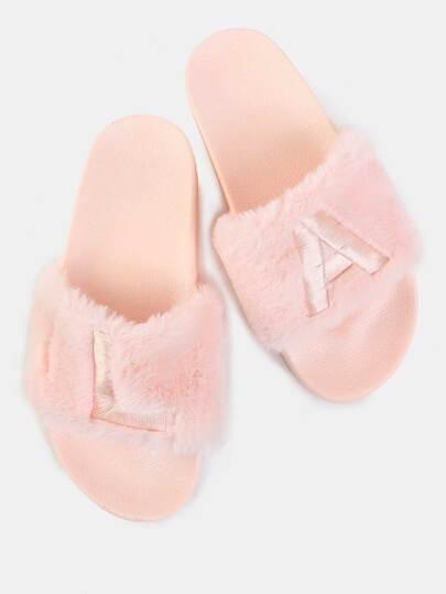 Stitched Faux Fur Slide Sandals PINK