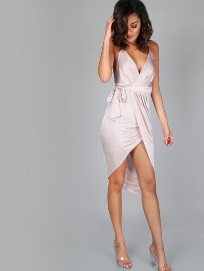 High Low A-Line Wrap Dress BLUSH