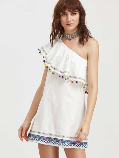 Embroidered Tape And Pom Pom Detail One Shoulder Dress