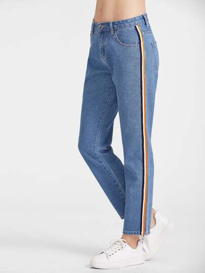 Side Striped Tape Straight Jeans