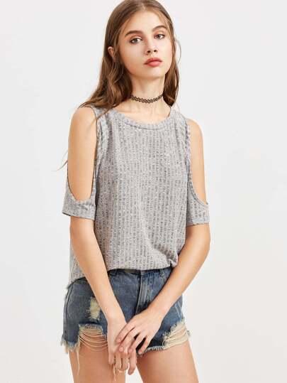 Camiseta con hombro descubierto - gris