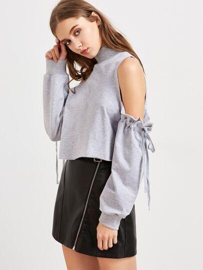 Cold Shoulder Drawstring Sleeve Raw Hem Crop Sweatshirt
