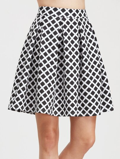 Black Grid Box Pleated Skirt
