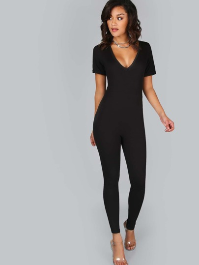 Bodycon Short Sleeve Jumpsuit BLACK