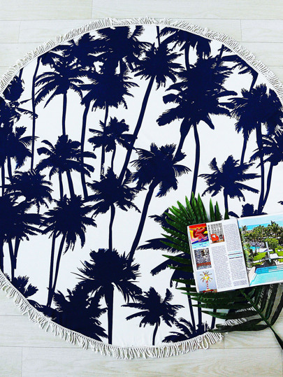 Navy Coconut Tree Print Fringe Trim Round Beach Blanket