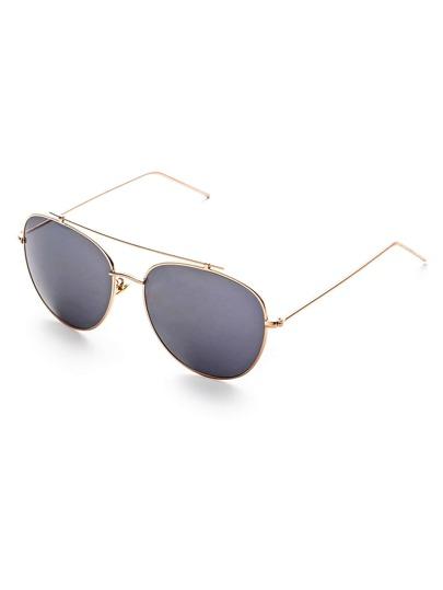 Gold Frame Grey Lens Double Bridge Sunglasses