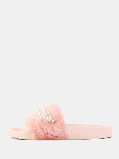 Pastel Faux Pearl Slide Sandals PINK
