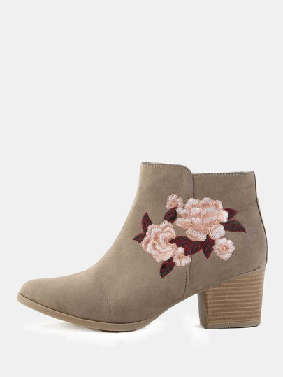 Stacked Heel Floral Embroidered Booties TAUPE