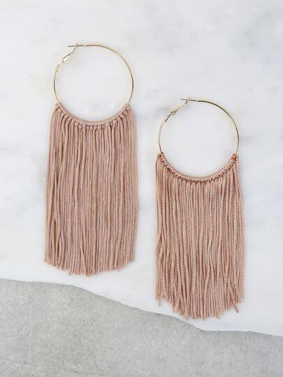Pastel  Tassel Hoop Earrings NUDE