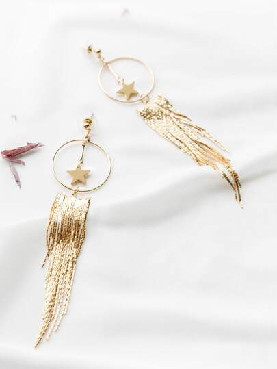 Gold Star And Tassel Earrings