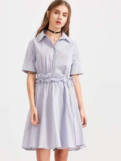 Blue Striped Hidden Button Ruffle Waist Shirt Dress