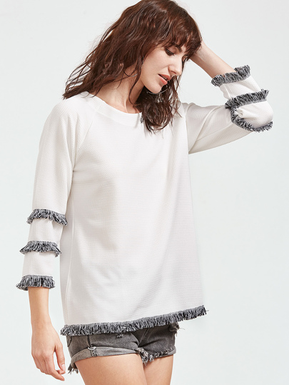 White Raglan Sleeve Fringe Trim T-shirt