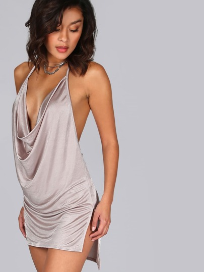 Halter Draped Mini Dress CHAMPAGNE
